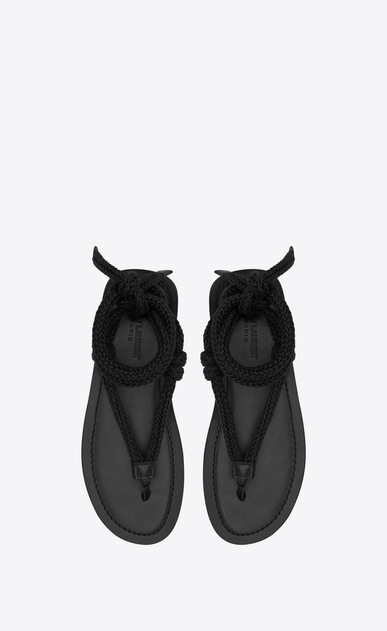 SAINT LAURENT Casual Shoes Man NU-PIEDS sandal in brown leather with black cord b_V4