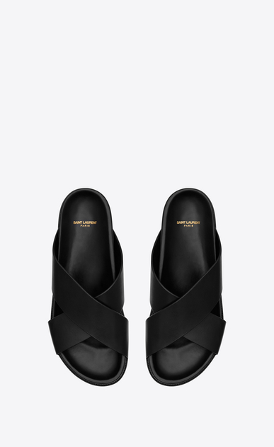 SAINT LAURENT Casual Shoes Herren JIMMY Sandale aus schwarzem Leder b_V4