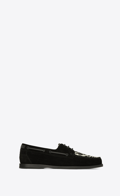 SAINT LAURENT Classic Shoes Man DECK 20 loafers in black suede and black and white zebra-look calfskin a_V4