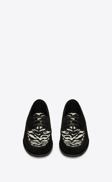 SAINT LAURENT Classic Shoes Man DECK 20 loafers in black suede and black and white zebra-look calfskin b_V4