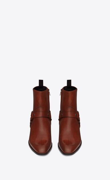 SAINT LAURENT Boots Man WYATT 40 harness boots in caramel leather b_V4