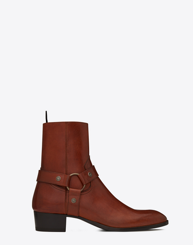 Wyatt Harness Boots In Smooth Leather, Caramel
