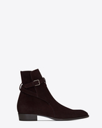 SAINT LAURENT Boots U WYATT 30 jodhpur boot in burgundy suede f