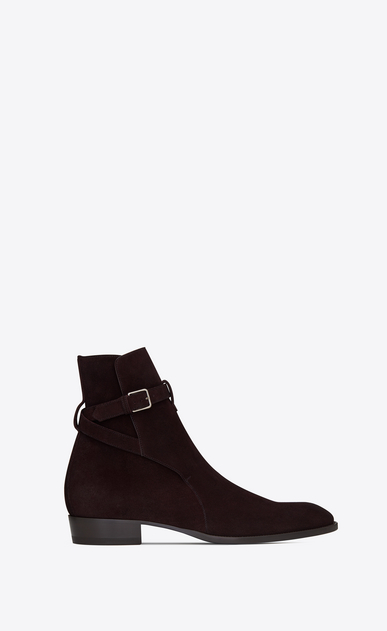 SAINT LAURENT Boots Man WYATT 30 jodhpur boot in burgundy suede a_V4