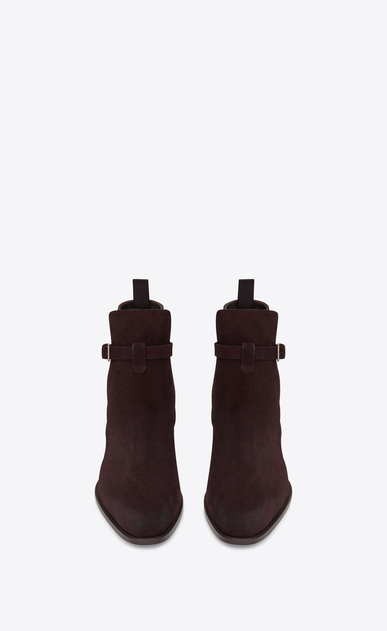 SAINT LAURENT Boots Man WYATT 30 jodhpur boot in burgundy suede b_V4