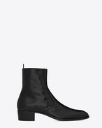SAINT LAURENT Boots U WYATT 40 zippered ankle boots in crinkled metallic black leather f
