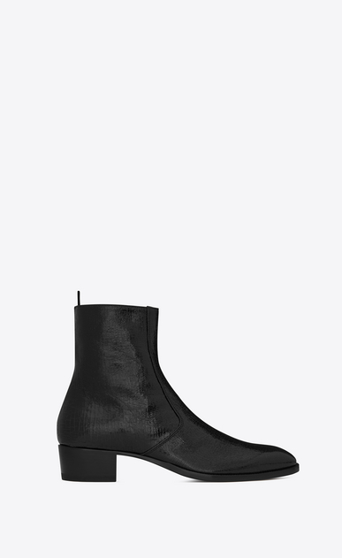 SAINT LAURENT Boots U WYATT 40 zippered ankle boots in crinkled metallic black leather a_V4
