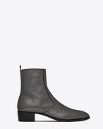 SAINT LAURENT Boots U WYATT 40 zippered ankle boots in steel gray metallic crinkled leather f