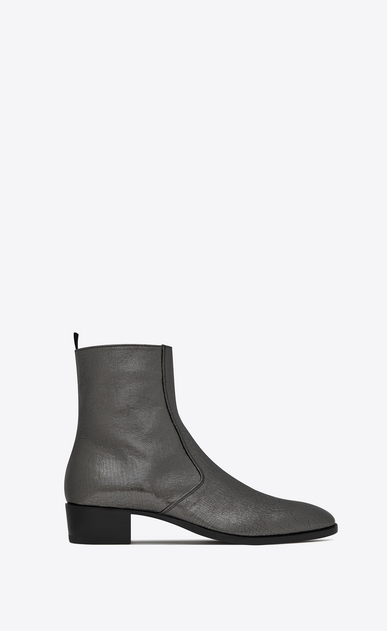 SAINT LAURENT Boots Man WYATT 40 zippered ankle boots in steel gray metallic crinkled leather a_V4