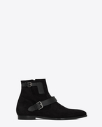 SAINT LAURENT Boots U MATT 25 zipped boots in black suede and leather f