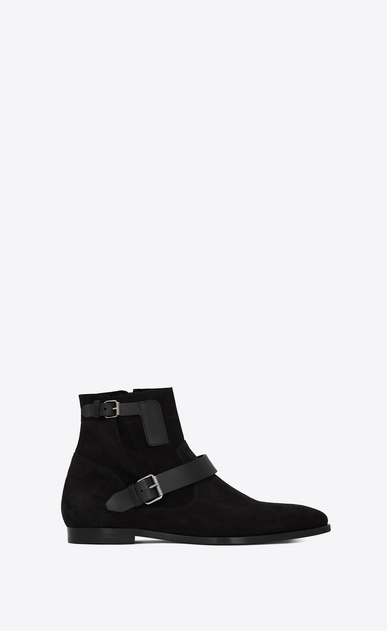 SAINT LAURENT Boots Man MATT 25 zipped boots in black suede and leather a_V4