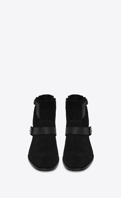 SAINT LAURENT Boots U MATT 25 zipped boots in black suede and leather b_V4