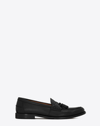 SAINT LAURENT Classic Shoes U UNIVERSITE 20 black leather loafers with pompoms f