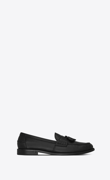 SAINT LAURENT Classic Shoes U UNIVERSITE 20 black leather loafers with pompoms a_V4