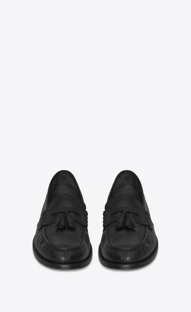 SAINT LAURENT Classic Shoes U UNIVERSITE 20 black leather loafers with pompoms b_V4