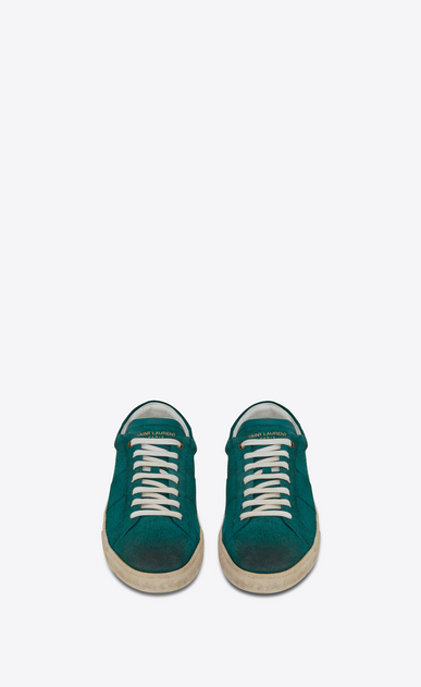 SAINT LAURENT SL/06 U COURT CLASSIC SL/06 sneakers in suede and green leather b_V4