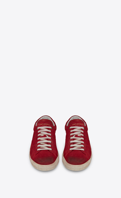 SAINT LAURENT SL/06 メンズ court sl/06 sneakers in suede and red leather b_V4
