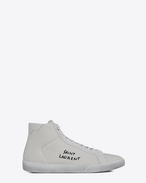 SAINT LAURENT SL/06 U COURT CLASSIC SL/06 medium high sneakers in cloth, suede and off-white leather f