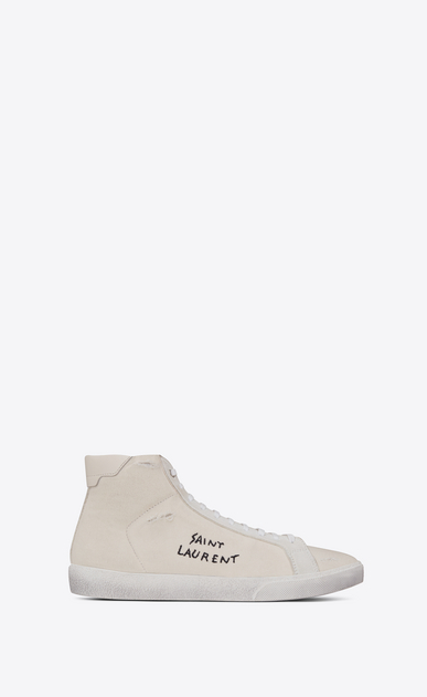 SAINT LAURENT SL/06 メンズ court sl/06 medium high sneakers in cloth, suede and off-white leather a_V4