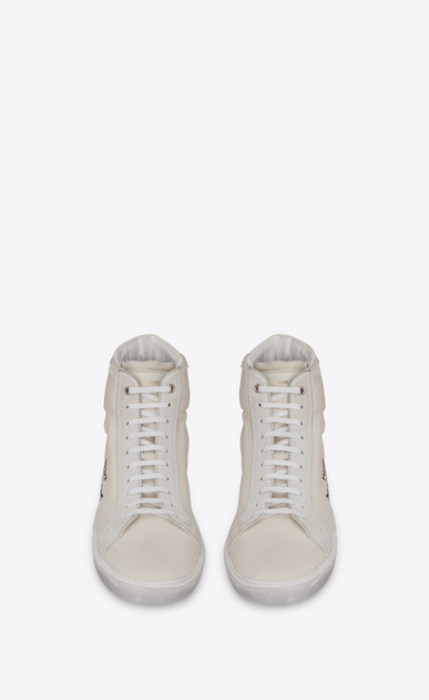 SAINT LAURENT SL/06 メンズ court sl/06 medium high sneakers in cloth, suede and off-white leather b_V4