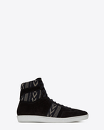 SAINT LAURENT SL/10H U COURT CLASSIC SL/10H sneakers with ikat motifs in black suede f