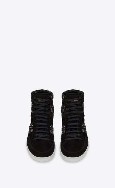 SAINT LAURENT SL/10H U COURT CLASSIC SL/10H sneakers with ikat motifs in black suede b_V4