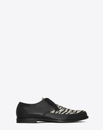 SAINT LAURENT Classic Shoes U CHARLES 25 derby in black leather and black and white tiger-look calfskin f