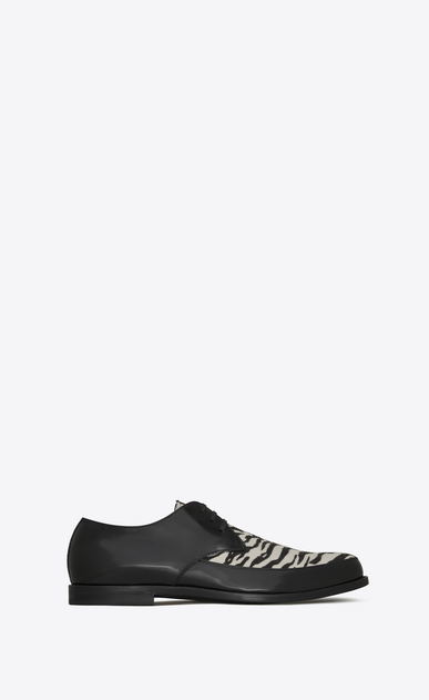 SAINT LAURENT Classic Shoes Man CHARLES 25 derby in black leather and black and white tiger-look calfskin a_V4