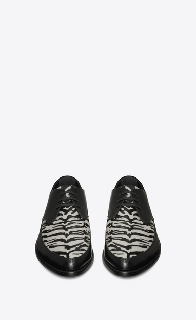SAINT LAURENT Classic Shoes Man CHARLES 25 derby in black leather and black and white tiger-look calfskin b_V4