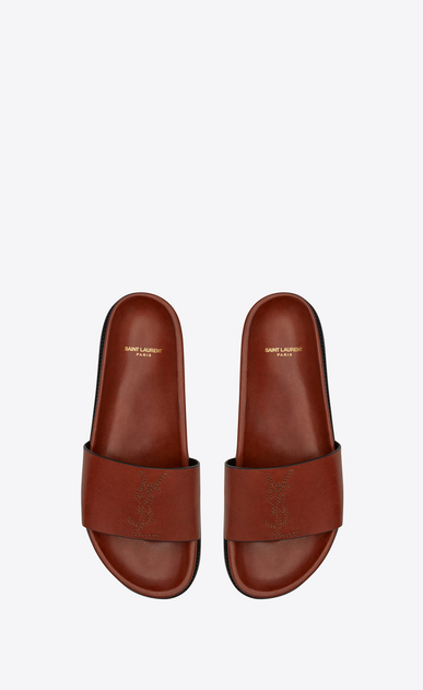 SAINT LAURENT Casual Shoes Homme Sandale Jimmy en cuir caramel b_V4