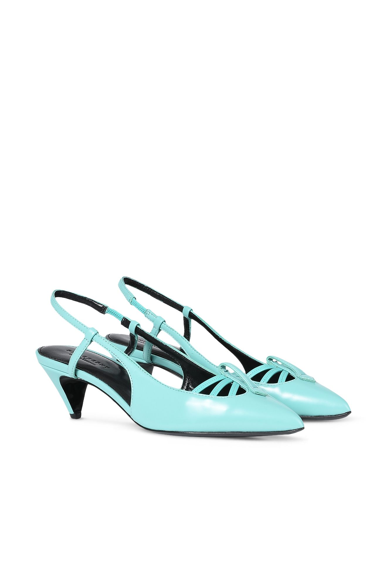 Coloured, vinyl-effect slingbacks