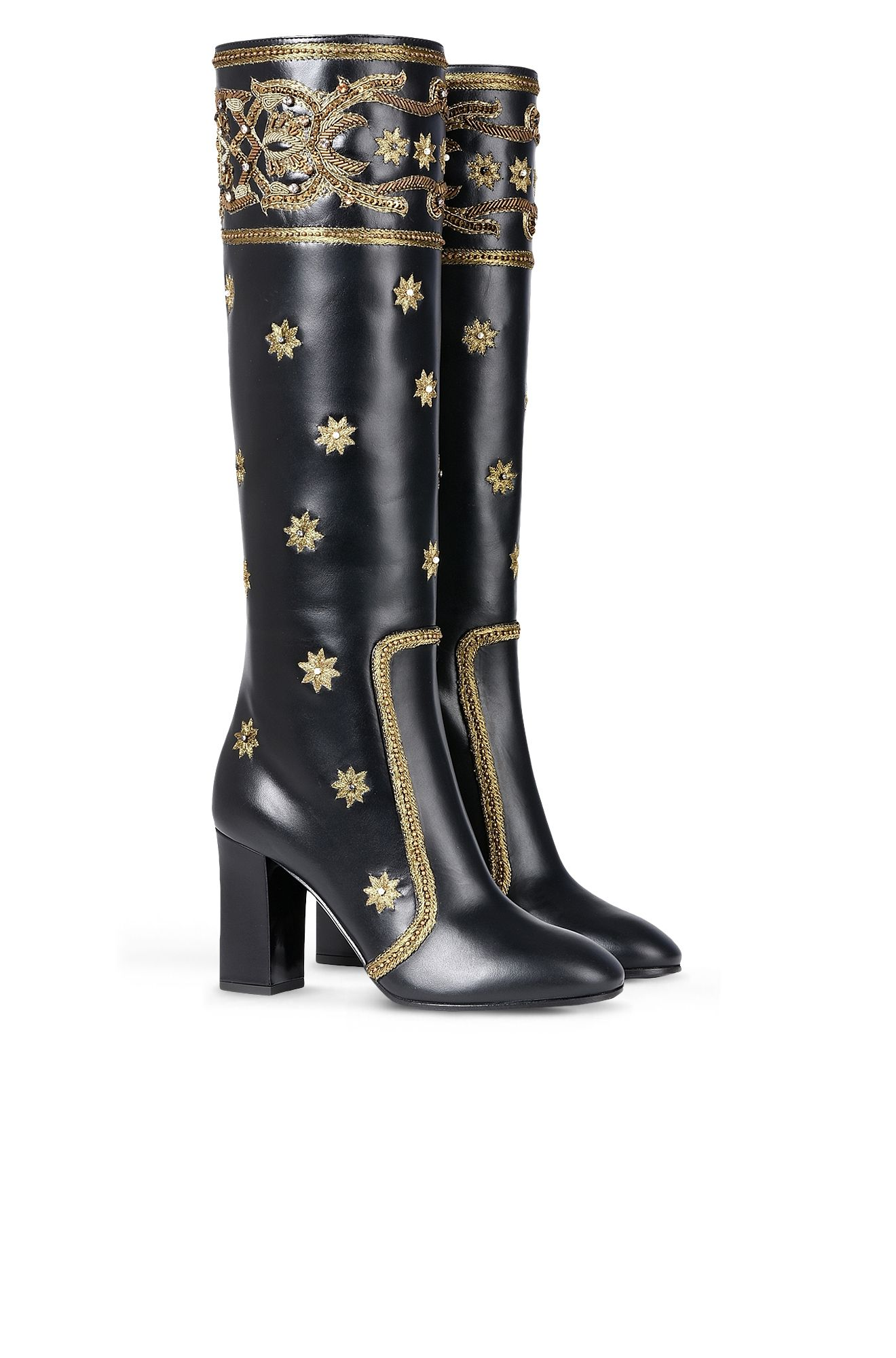 Boots with gold embroidery