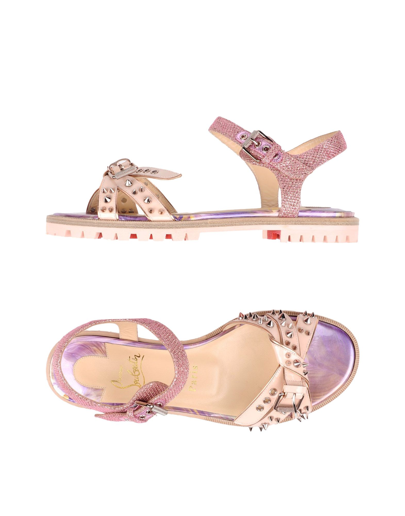 CHRISTIAN LOUBOUTIN Sandals. varnished effect, side seam stripes, glitter, two-tone, buckling ankle strap closure, round toeline, flat, leather lining, rubber cleated sole, contains non-textile parts of animal origin, small sized. Textile fibers, Soft Leather