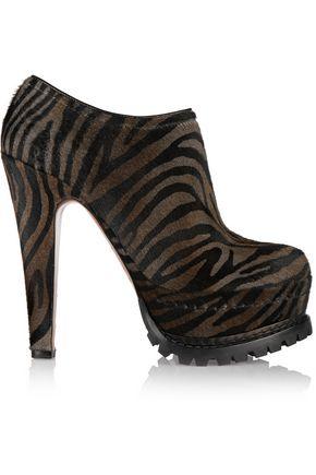 ALAÏA Zebra-print calf hair ankle boots