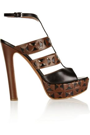 ALAÏA Laser-cut leather platform sandals