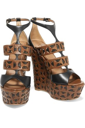 Alaïa Leather Wedge Sandals official site cheap price Inexpensive cheap price tSq1D