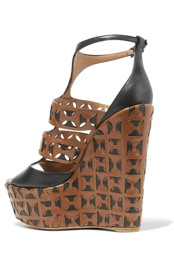 Laser-cut leather wedge sandals | ALAÏA | Sale up to 70% off | THE OUTNET