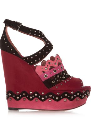 ALAÏA Chamois Cloute embellished suede wedge sandals