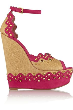 ALAÏA Studded suede and straw platform sandals
