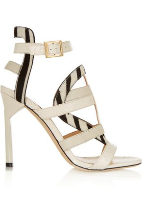 JIMMY CHOO LONDON Vanquish elaphe and zebra-print calf hair sandals