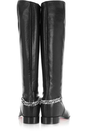 c088a1ffe98 Cate chain-trimmed textured-leather knee boots | CHRISTIAN LOUBOUTIN ...