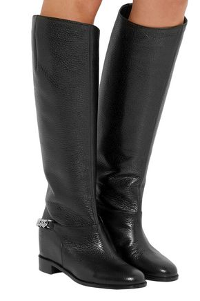 914aeb1a8ed Cate chain-trimmed textured-leather knee boots   CHRISTIAN LOUBOUTIN ...