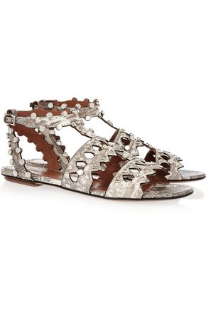 ALAÏA Studded laser-cut lizard sandals