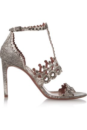 ALAÏA Laser-cut embellished lizard sandals