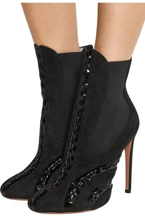 ALAÏA Patent leather-paneled suede ankle boots