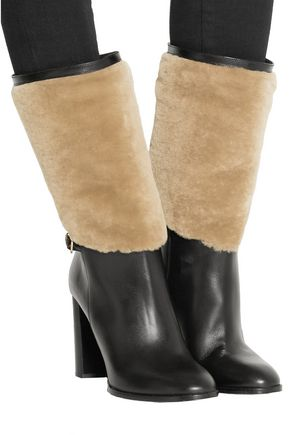 BURBERRY London shearling-paneled leather boots