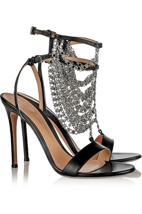 GIANVITO ROSSI Chain-embellished leather sandals
