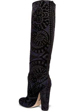 PAUL ANDREW Elder appliquéd suede knee boots