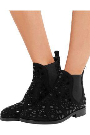 ALAÏA Patent leather-appliquéd suede Chelsea boots