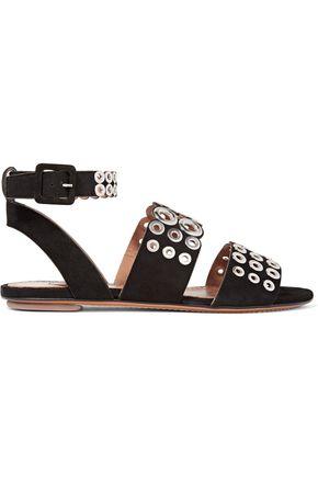 ALAÏA Eyelet-embellished suede sandals